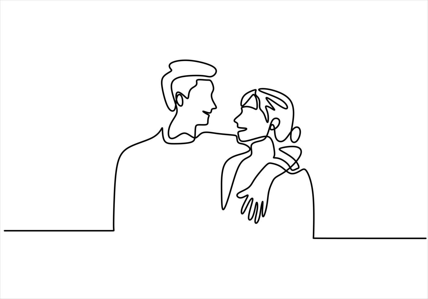 continu een lijntekening. liefdevolle paar vrouw en man in liefdesrelatie. vector illustratie, minimalisme stijl.