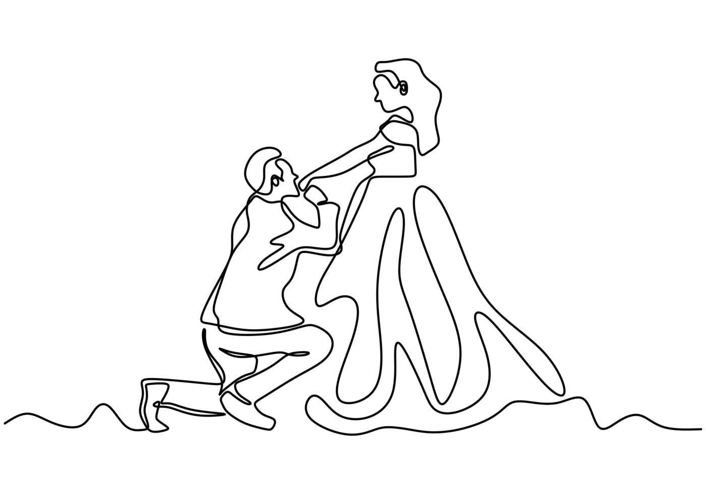 doorlopende lijntekening. romantisch koppel, een man die een hand van een vrouw kust, een huwelijk voorstelt. een hand getekend minimalisme. vector