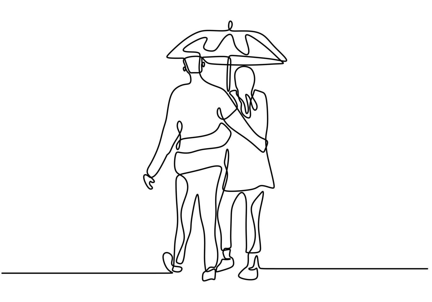 doorlopende lijntekening. romantisch paar omarmen en paraplu te houden. liefhebbers thema conceptontwerp. vector