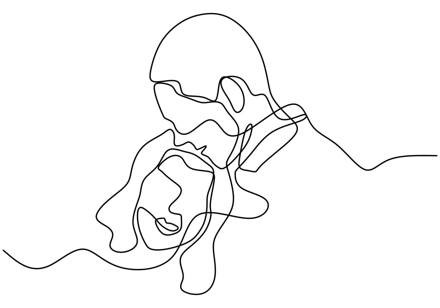 een lijntekening van het verliefde paar. portret van man en vrouw in relatie. vector