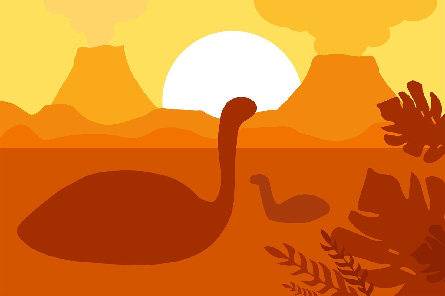 drijvende dinosaurussen in de buurt van vulkanen vector
