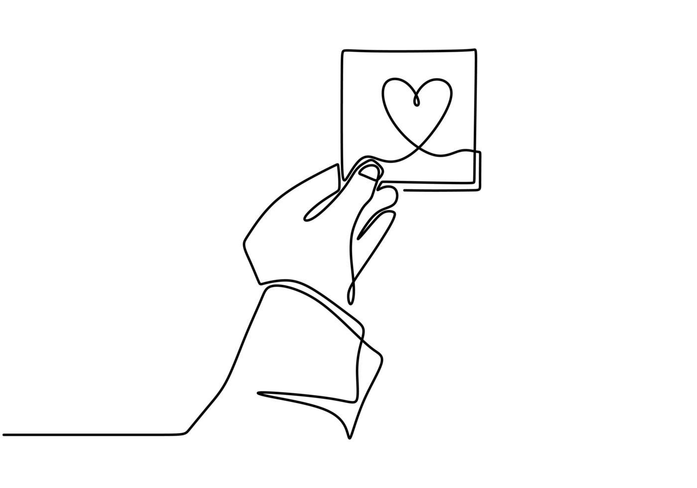 doorlopende lijntekening hand met liefde hart teken, een hand getrokken schets vectorillustratie. vector