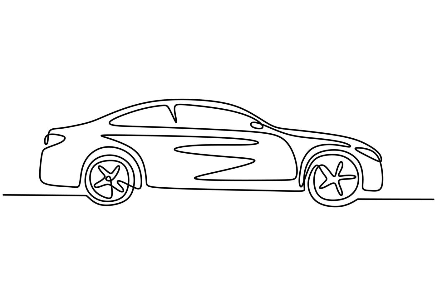 een lijntekening van auto. sedan voertuig, vector illustratie minimalisme