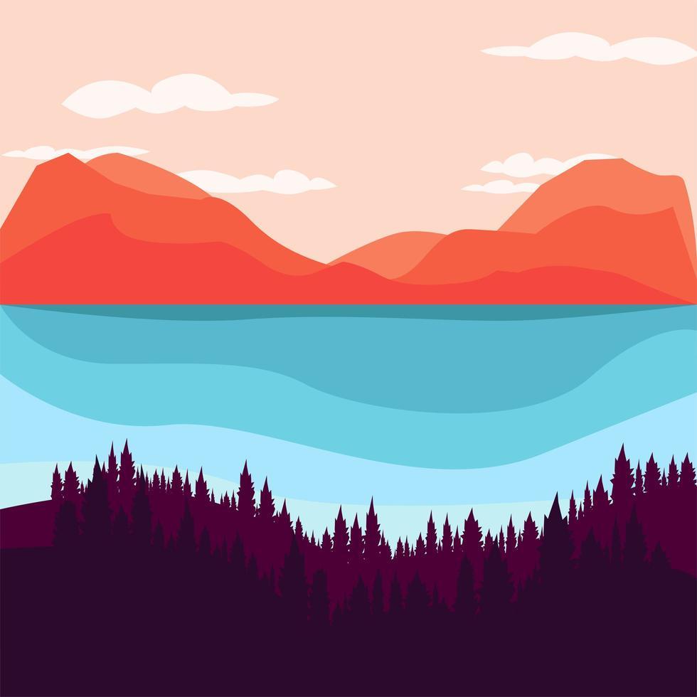 prachtige natuurlijke landschap illustraties illustratie vector