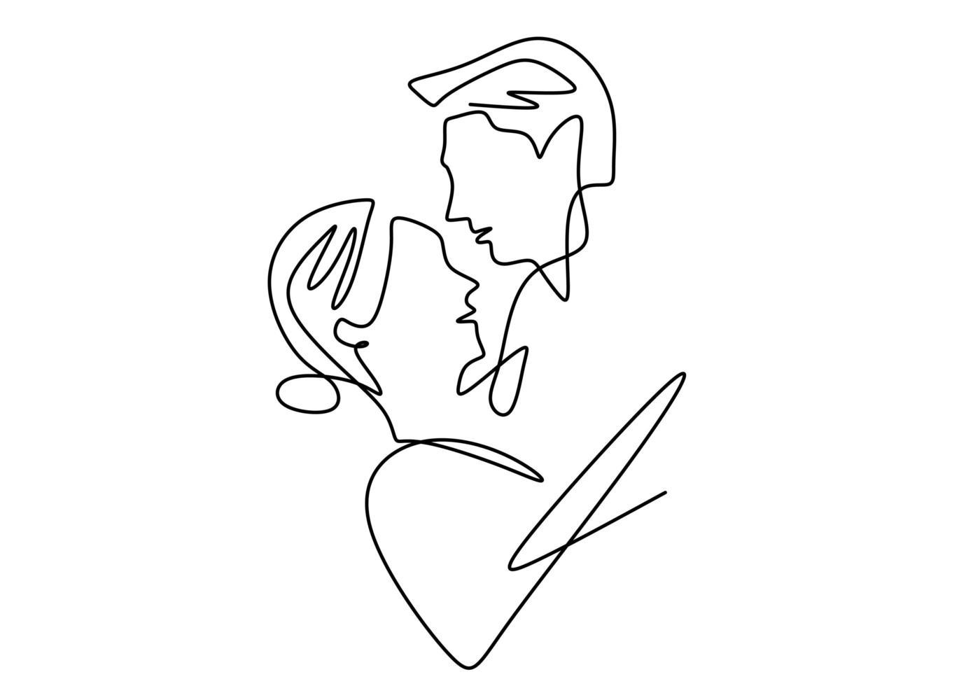 schattig verliefd stel. continu een lijntekening. vector