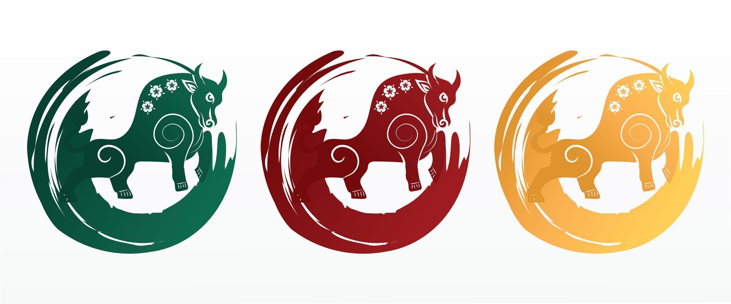 Chinees Nieuwjaar ossymbool. jaar van het os-karakter, bloem en Aziatische elementen met ambachtelijke stijl vector