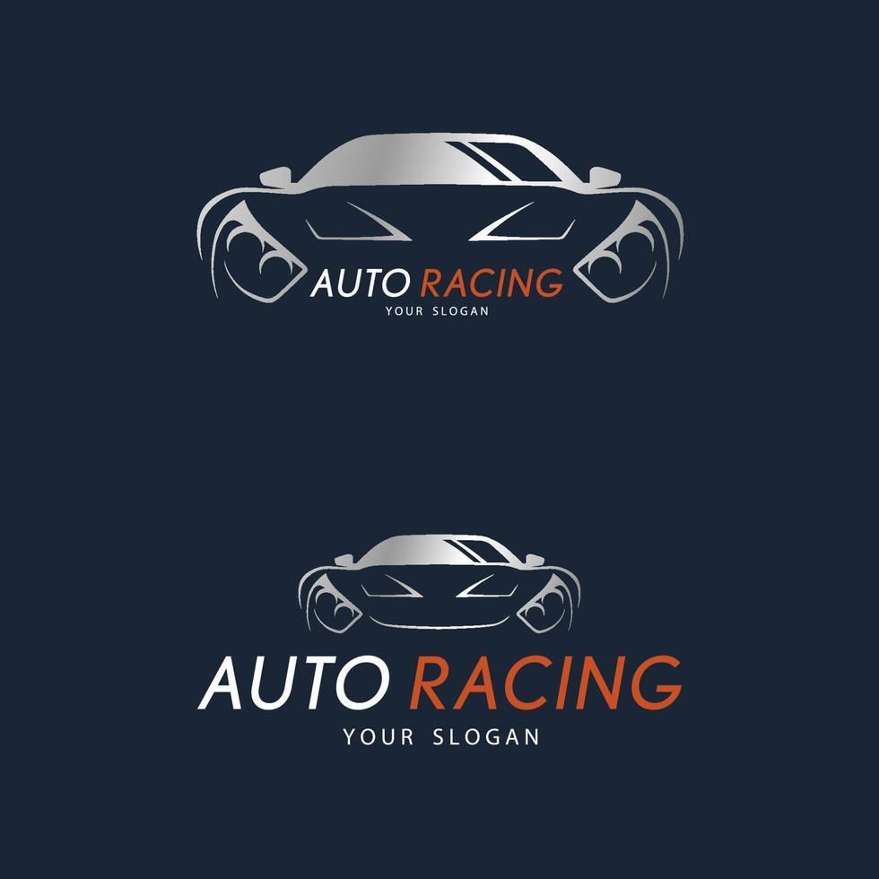autoracesymbool op donkerblauwe achtergrond. zilveren sportwagen logo-ontwerp. vector