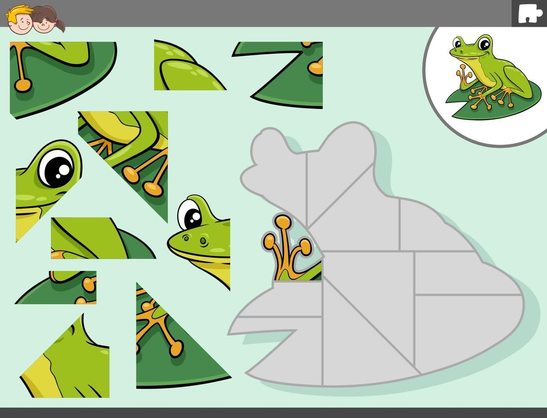 puzzel spel met groene kikker dier karakter vector