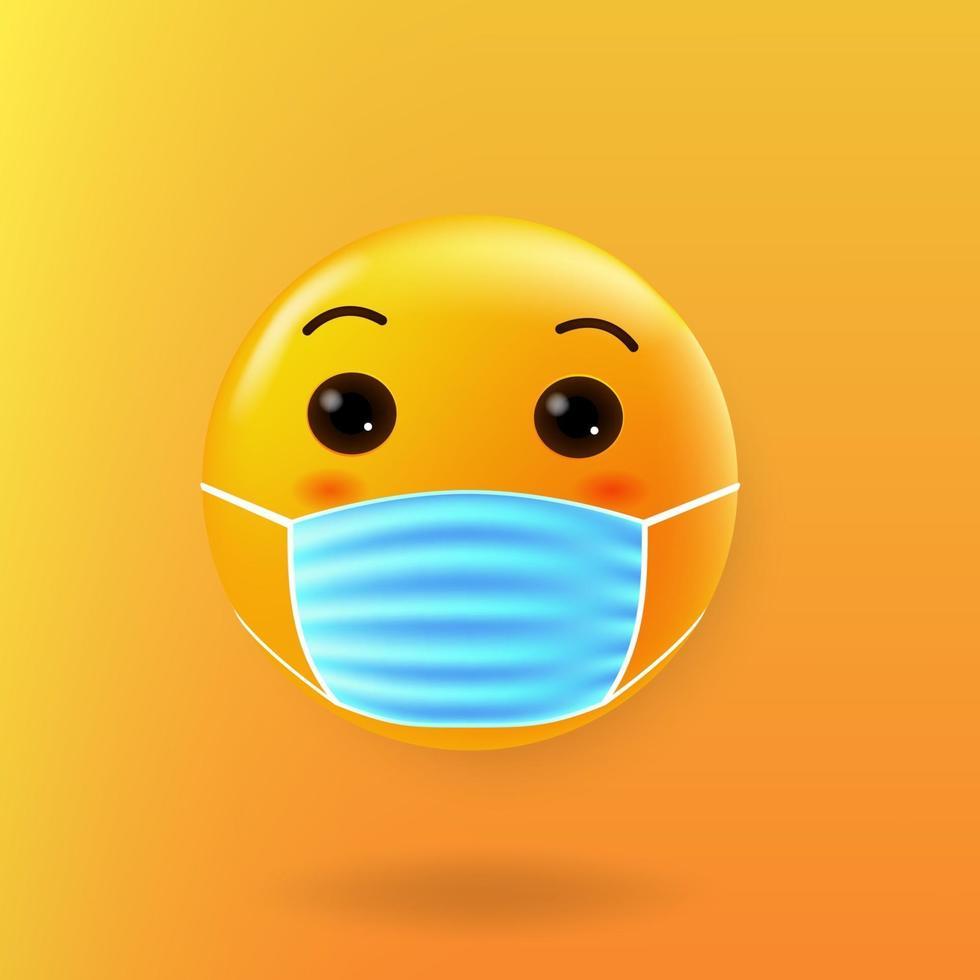 schattige emoji met mondmasker, nieuw normaal vector