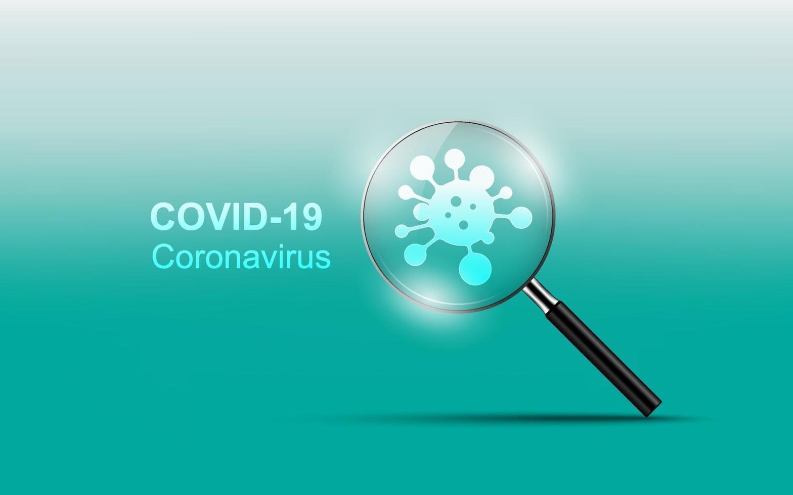 coronavirus ziekte covid-19 infectie medisch met vergrootglas vector