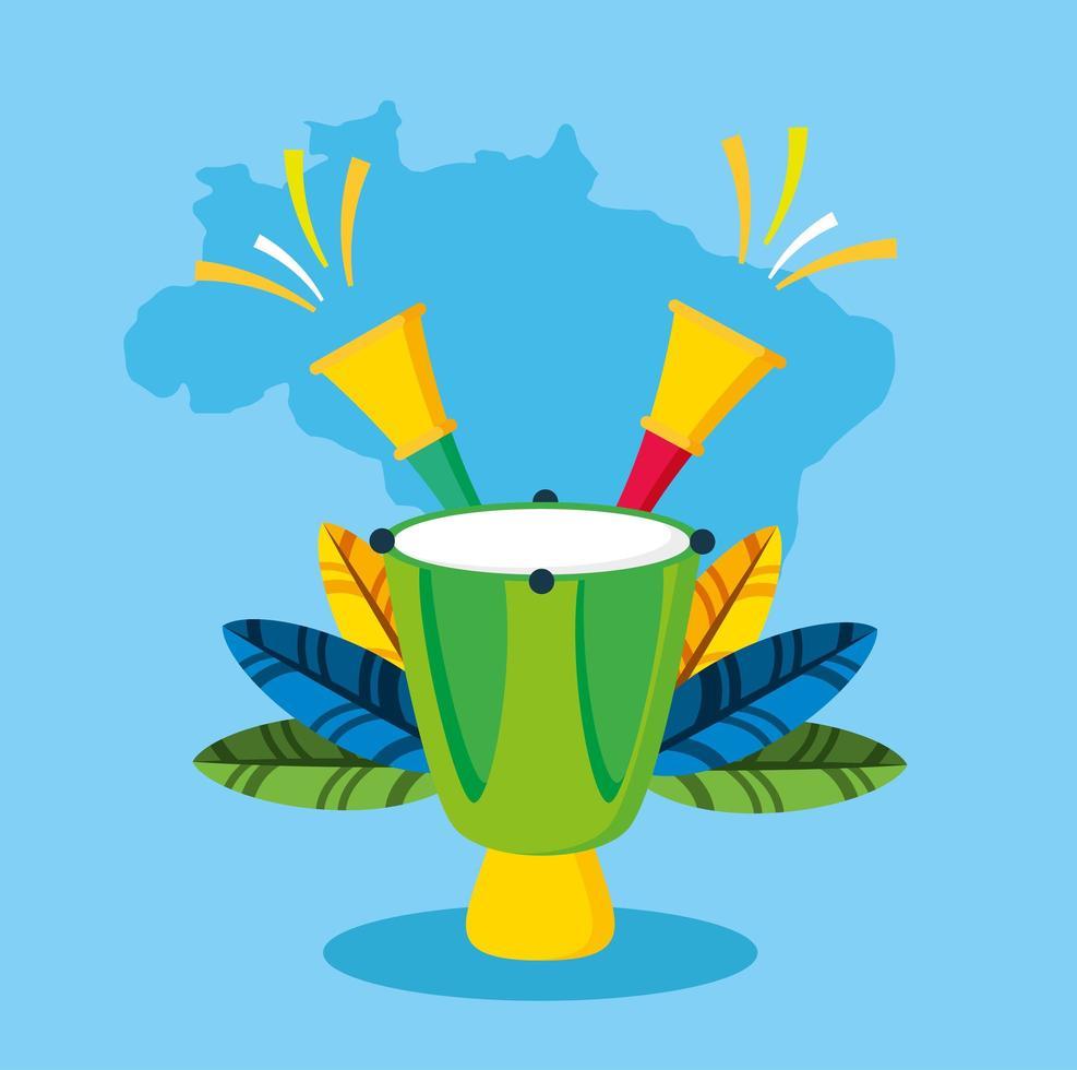 braziliaanse carnavalviering met bongo'sinstrumenten vector