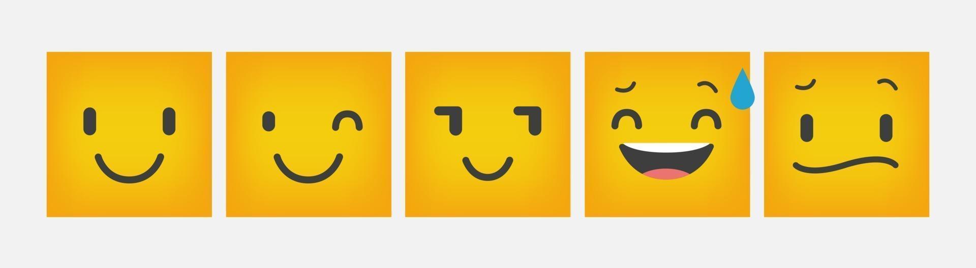emoticon reactie vierkante platte ontwerpset - vector
