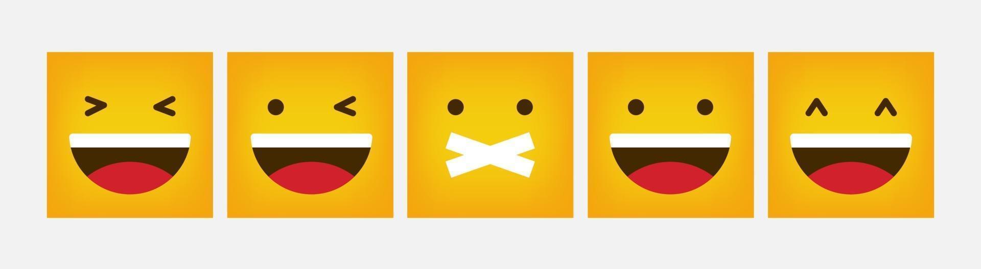 reactie ontwerp vierkante emoticon platte set - vector