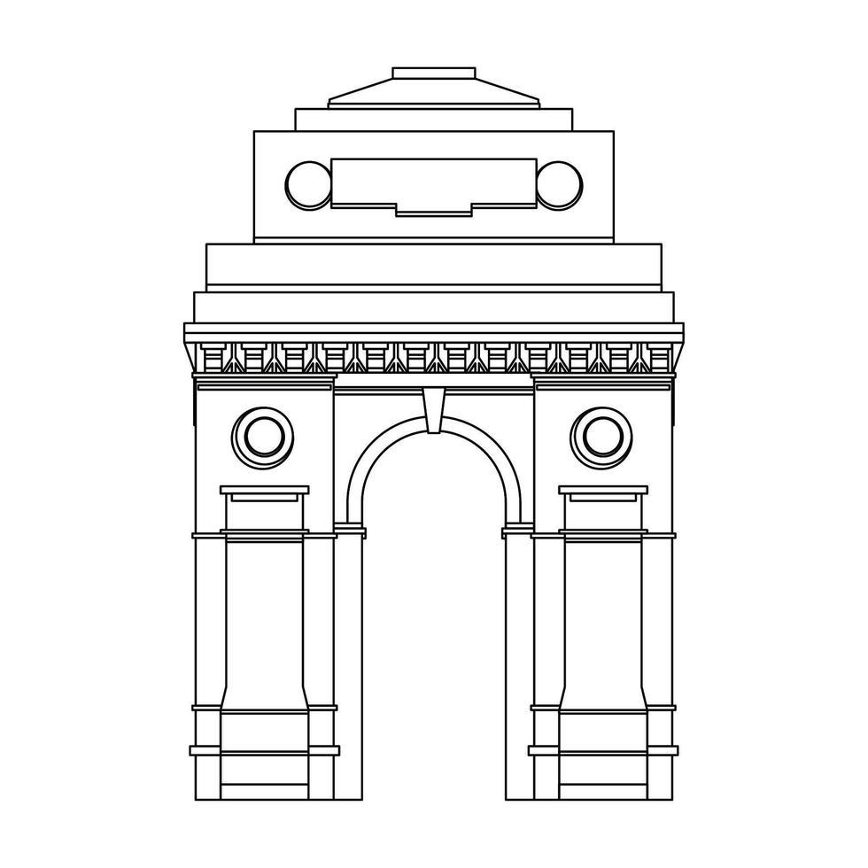 Indiase gateway embleem gebouw symbool geïsoleerd in zwart en wit vector