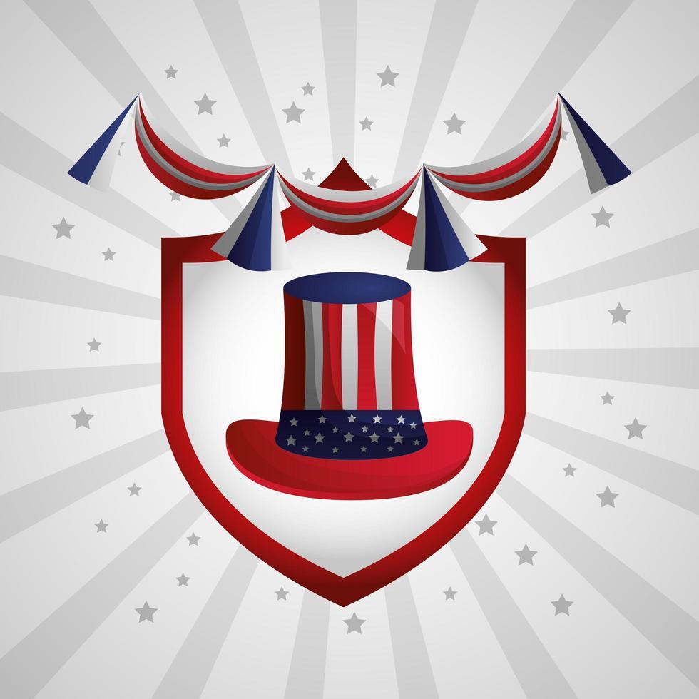 gelukkige presidentendag viering poster met oom sam hoed vector
