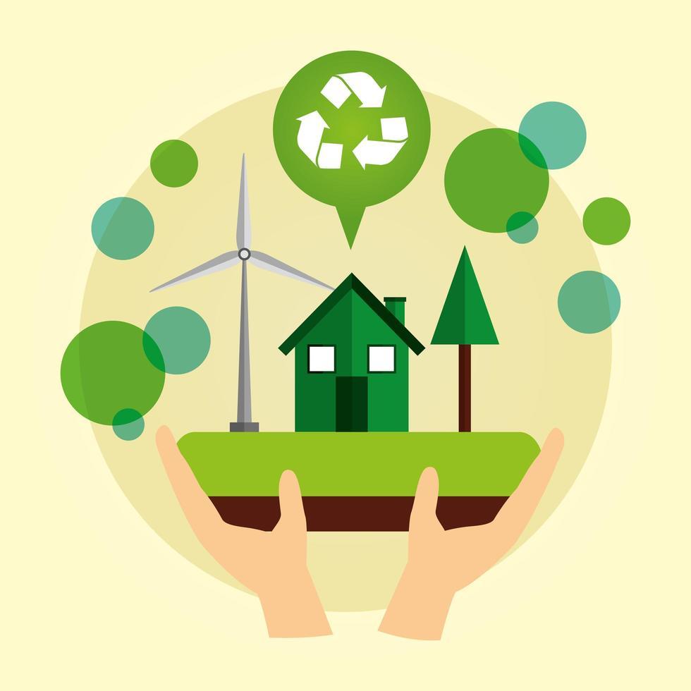 milieuvriendelijke poster met huis en windenergie vector