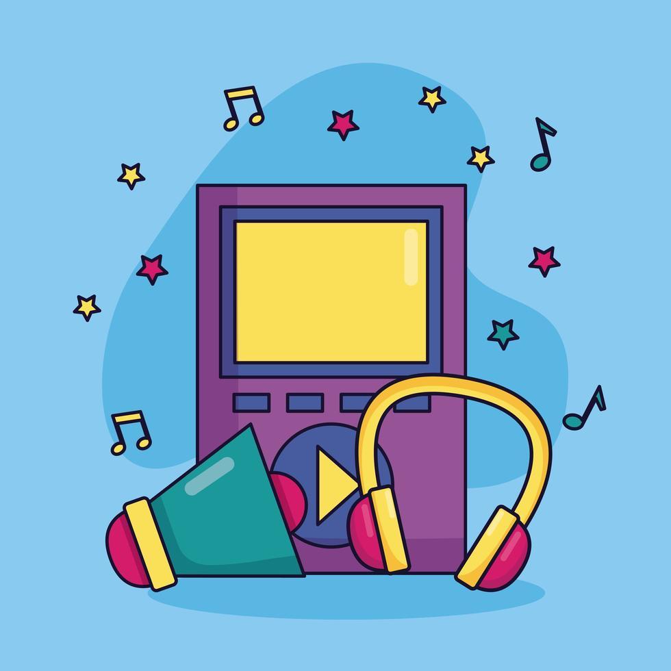 mp3-speler muziek kleurrijke achtergrond vector