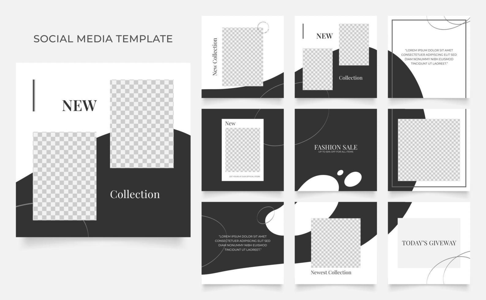 sociale media sjabloon banner blog mode verkoop promotie. volledig bewerkbare vierkante postframe puzzel organische verkoop poster. zwart grijs witte vector achtergrond
