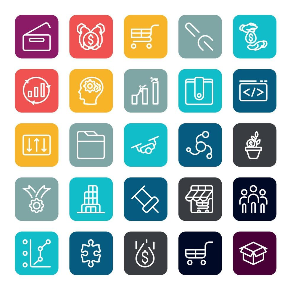 zakelijke marketing online of financieel investeringsvoordeel of rendement pictogrammen met omtrek op vierkante kleurvorm. vector infographic.