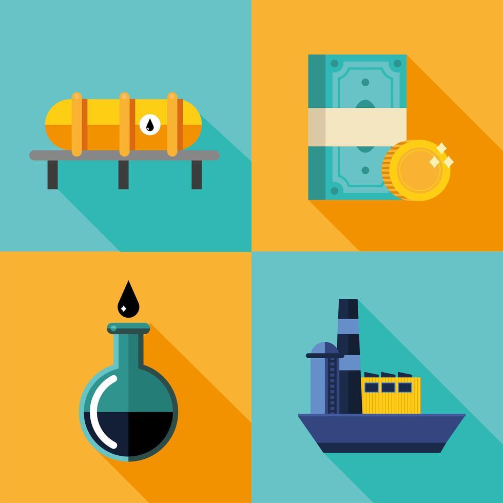 bundel van olieprijs icon set vector