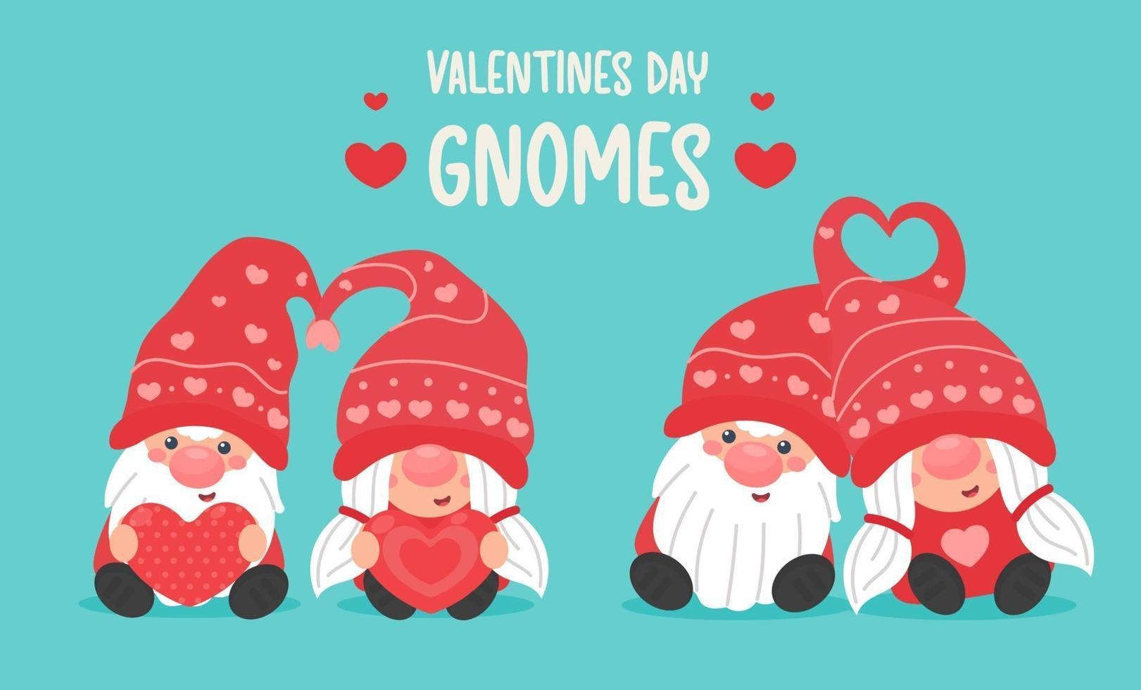 fijne Valentijnsdag. cartoon kabouters paren geven elkaar een rood hart op Valentijnsdag. vector