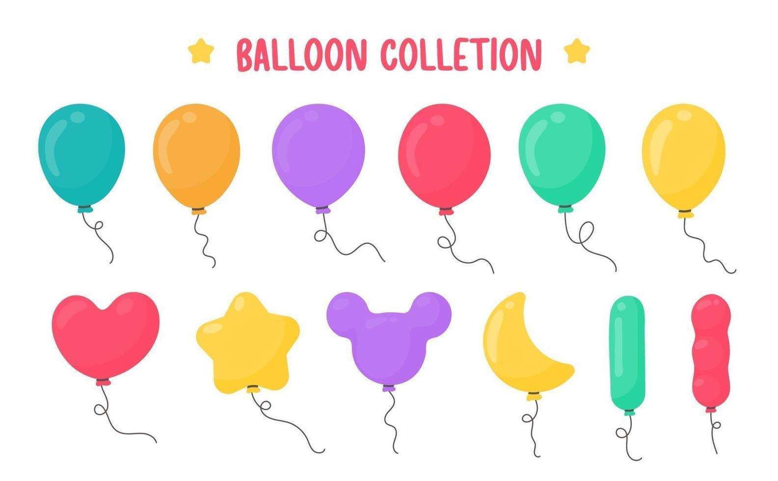 cartoon ballonnen van verschillende vormen voor decoratie in de feestpartij. vector