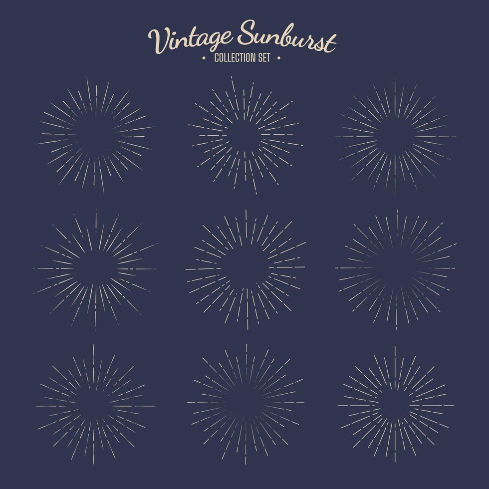 vintage sunburst vector collectie set retro zonne-grafisch ontwerp strepen