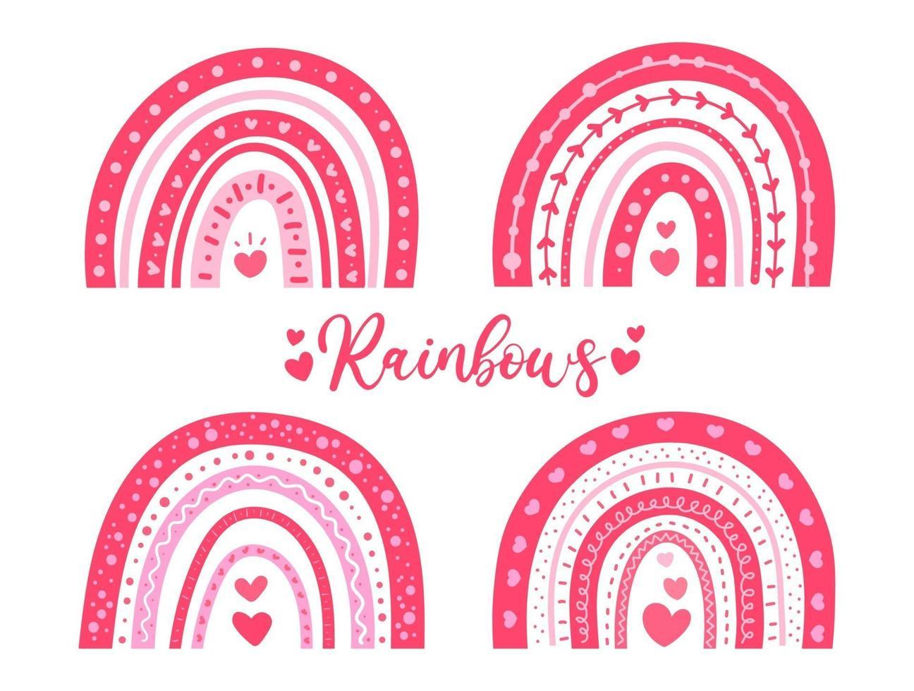 handgeschilderde schattige regenboog versierd met roze hartvorm Valentijnsdag kaart decoratie-ideeën vector