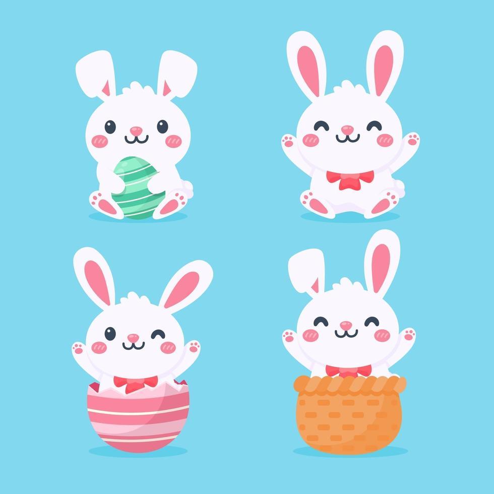 cartoon schattig klein konijn knuffelen paasei geïsoleerd op de achtergrond vector