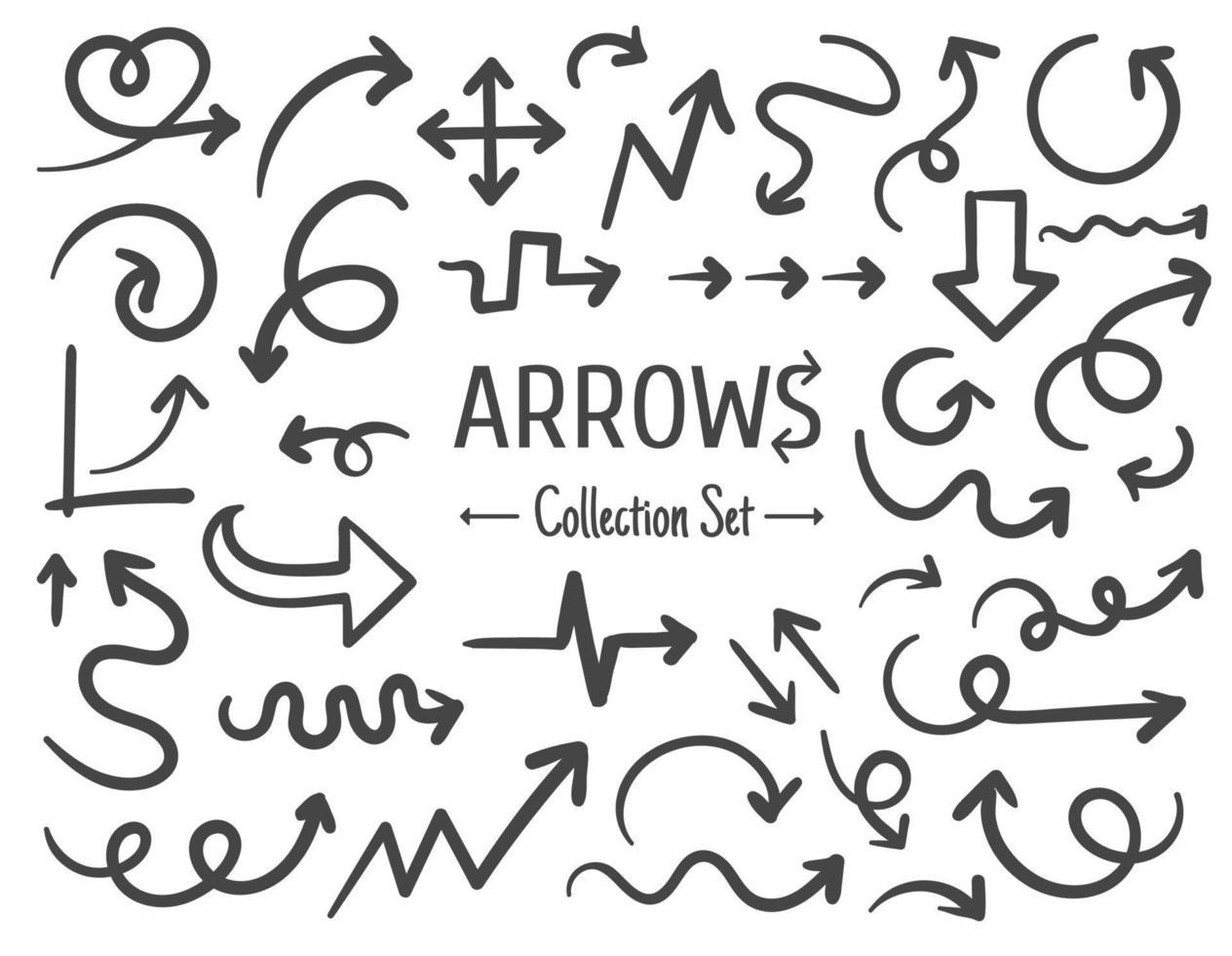 vrije hand getrokken lijntekening pijl decorontwerp geïsoleerd op een witte achtergrond vector