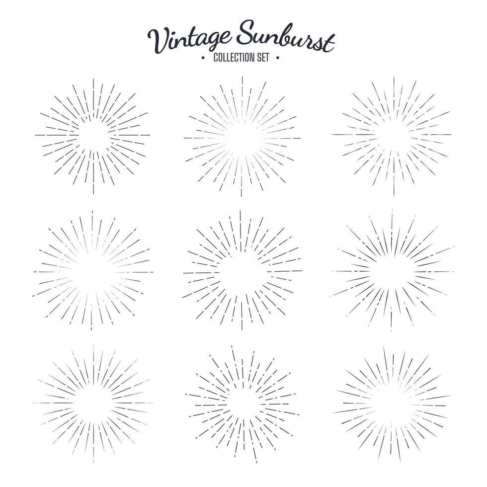 vintage sunburst vector collectie set. retro zonne-graphics