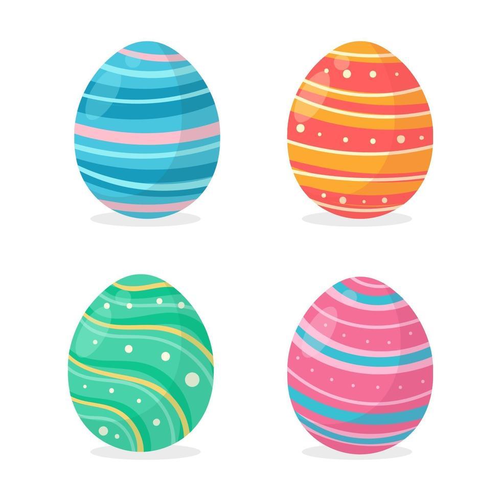 eieren beschilderd in verschillende kleurrijke patronen voor het versieren van de kaarten die met Pasen aan de kinderen worden gegeven. vector