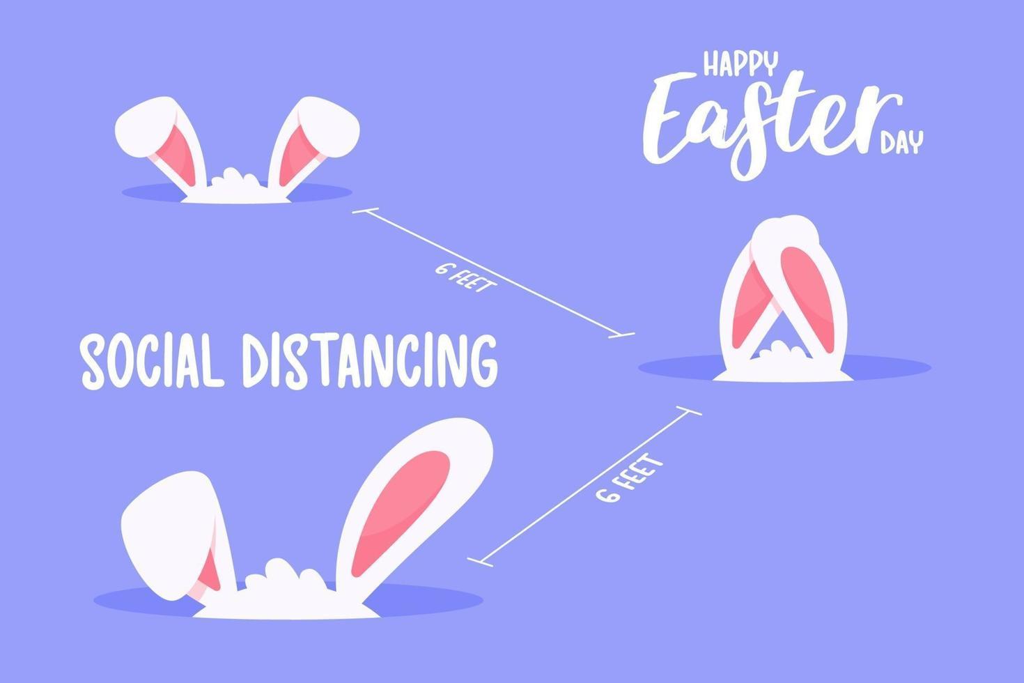 kleine konijnenoren in holte sociale afstand nemen. het concept van quarantaine en sociale afstand. vector