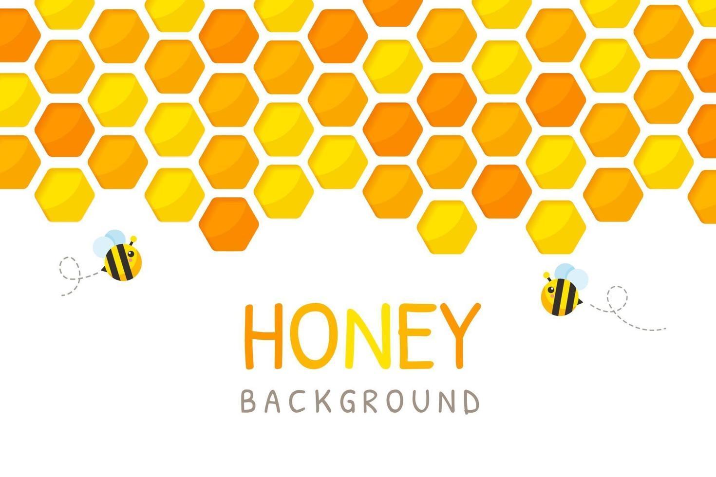 zeshoekig goudgeel honingraatpatroon papier gesneden achtergrond met bijen en zoete honing erin. vector