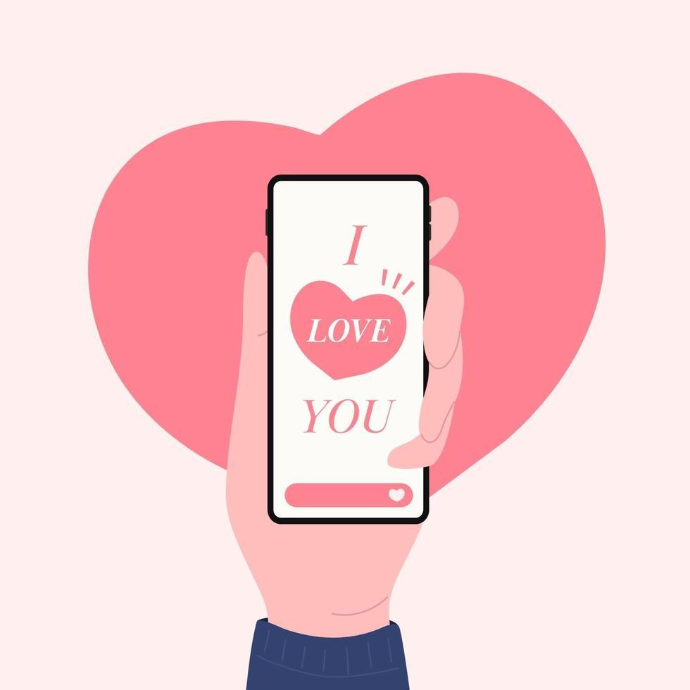 hand met telefoon met ik hou van je berichten, happy Valentijnsdag ontwerpconcept. vector