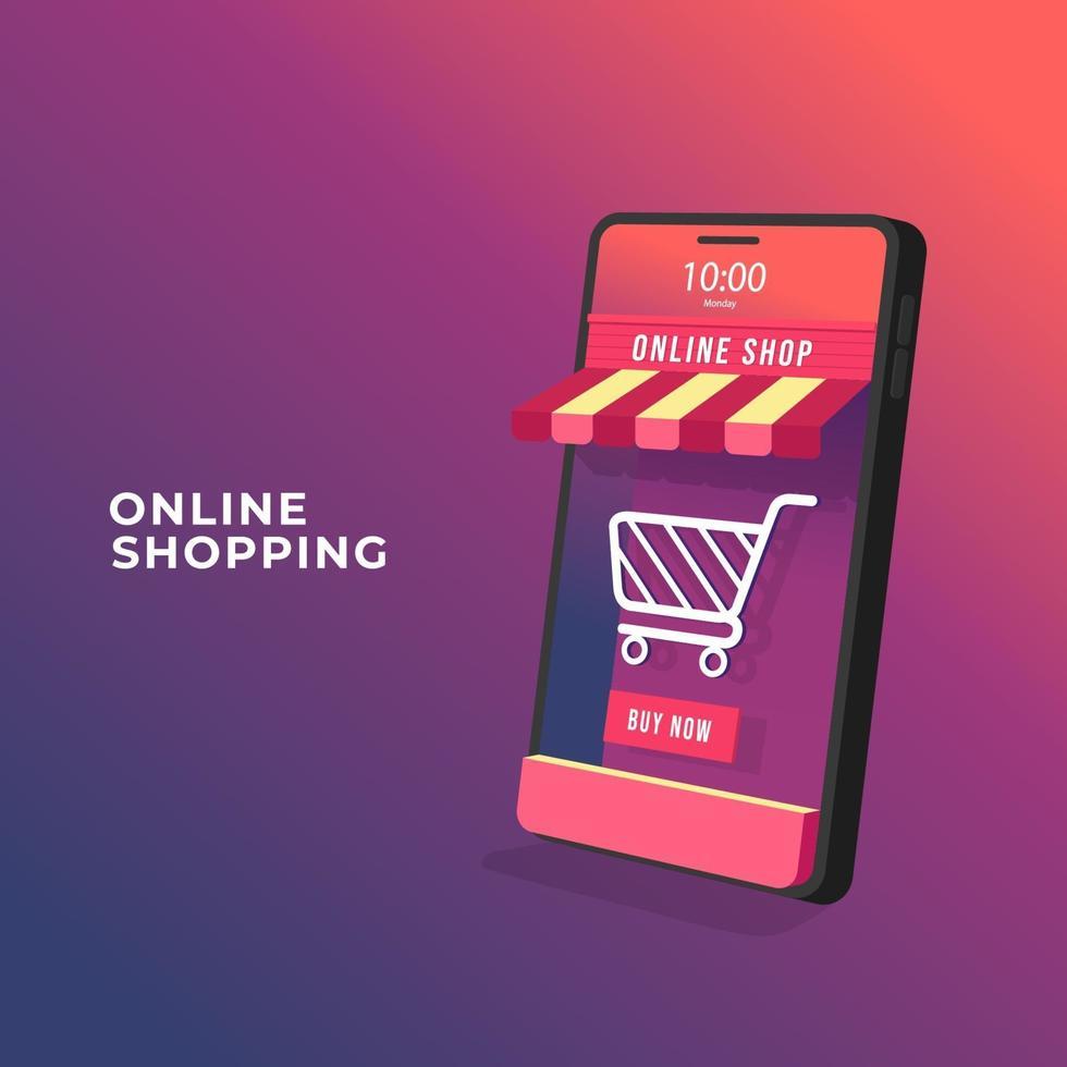 online winkelen op mobiel toepassingsconcept. 3d online winkel op mobiele telefoon. vector