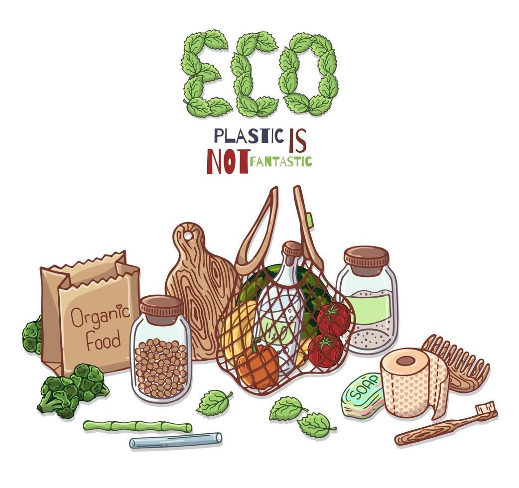 geen plastic. Zero waste. eco levensstijl. vector