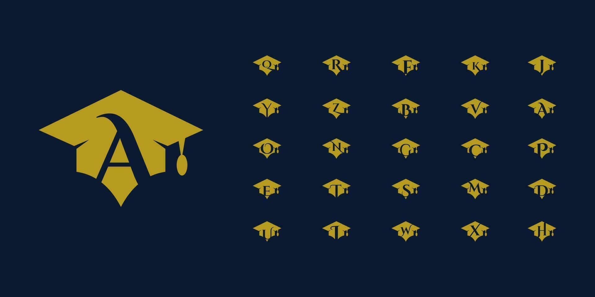 eerste alfabet bundel hoed logo-ontwerp vector