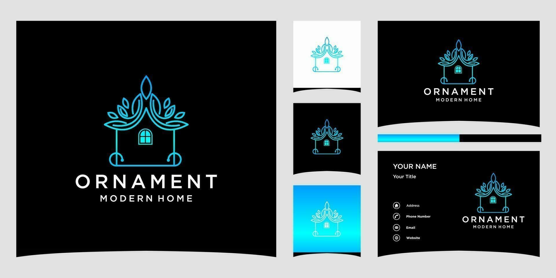 ornament modern huis logo sjablonen en visitekaartje ontwerp premium vector