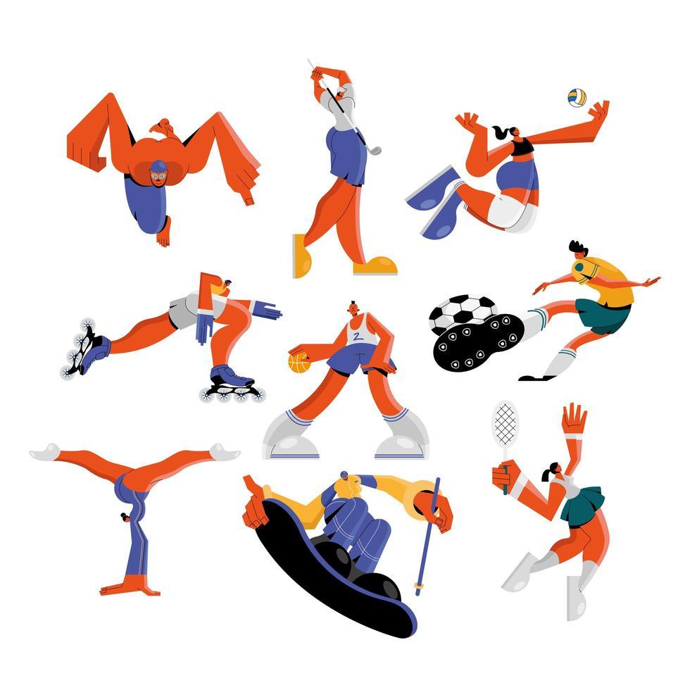 atleten die sportenreeks beoefenen vector