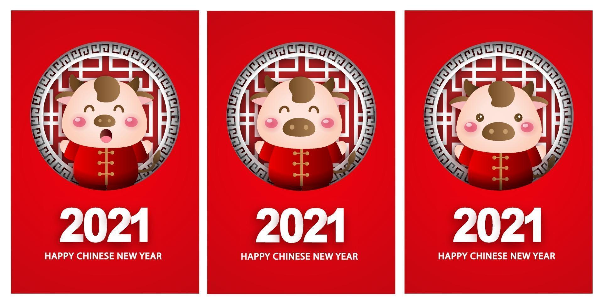 gelukkig chinees nieuwjaar 2021 wenskaarten, jaar van de os. vector