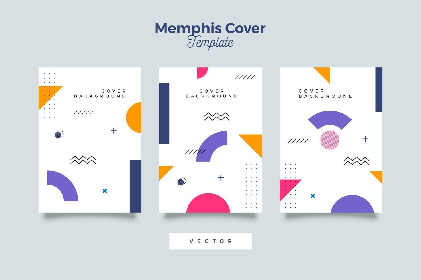 set van creatieve memphis-sjabloon voor dekking vector