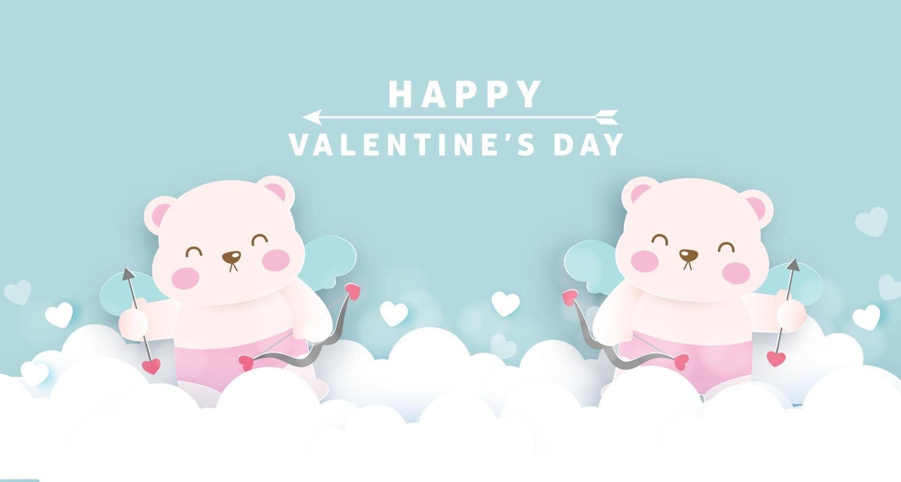 Valentijnsdag wenskaart met schattige cupido beren. vector