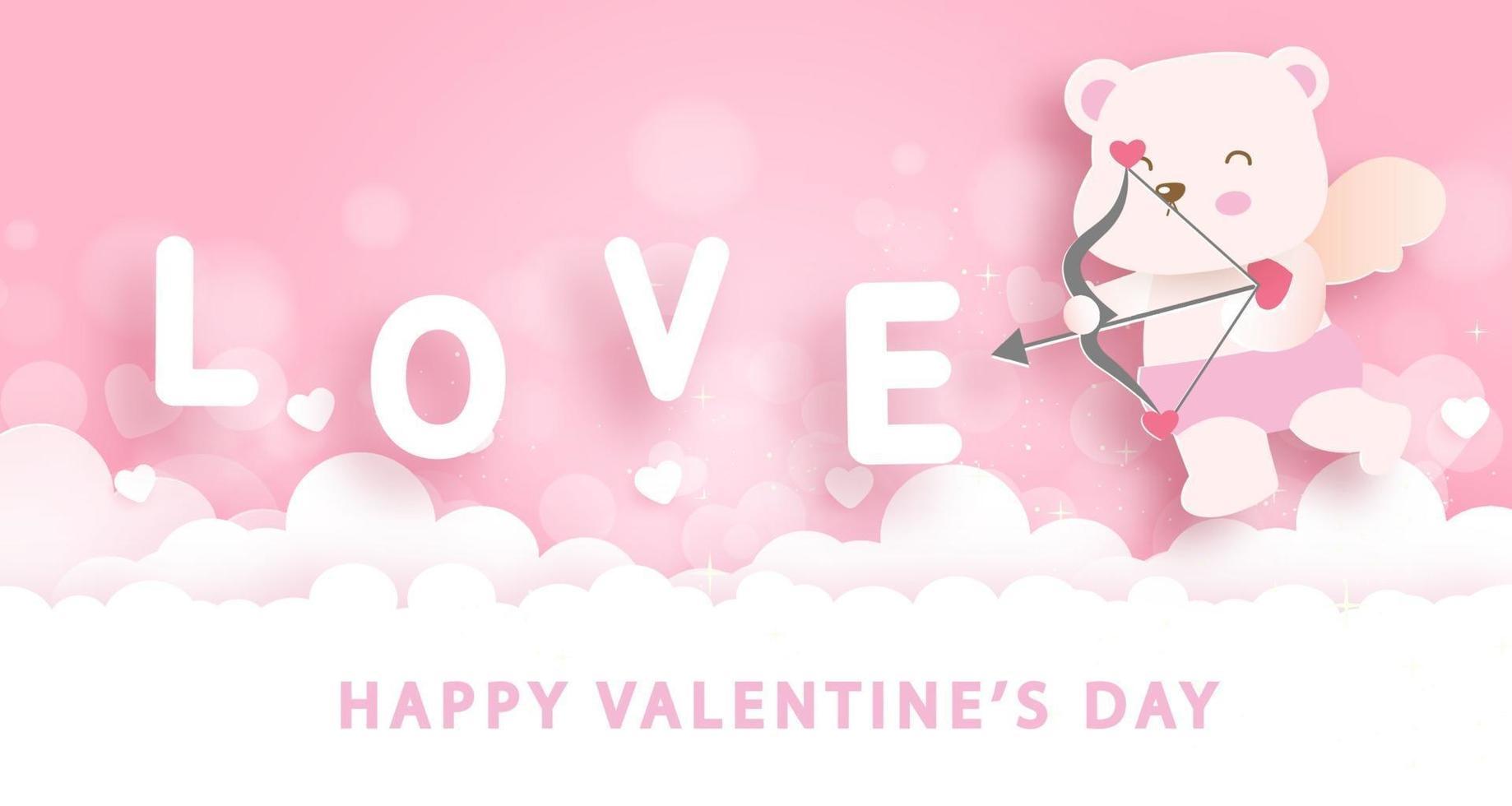 Valentijnsdag wenskaart met schattige cupido beer. vector