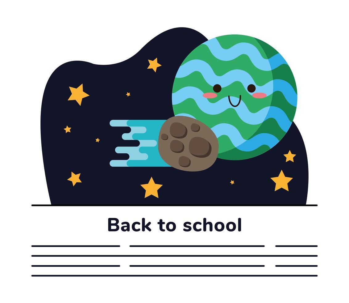 terug naar school belettering poster met ruimte planeet en meteoriet sjabloon voor spandoek vector