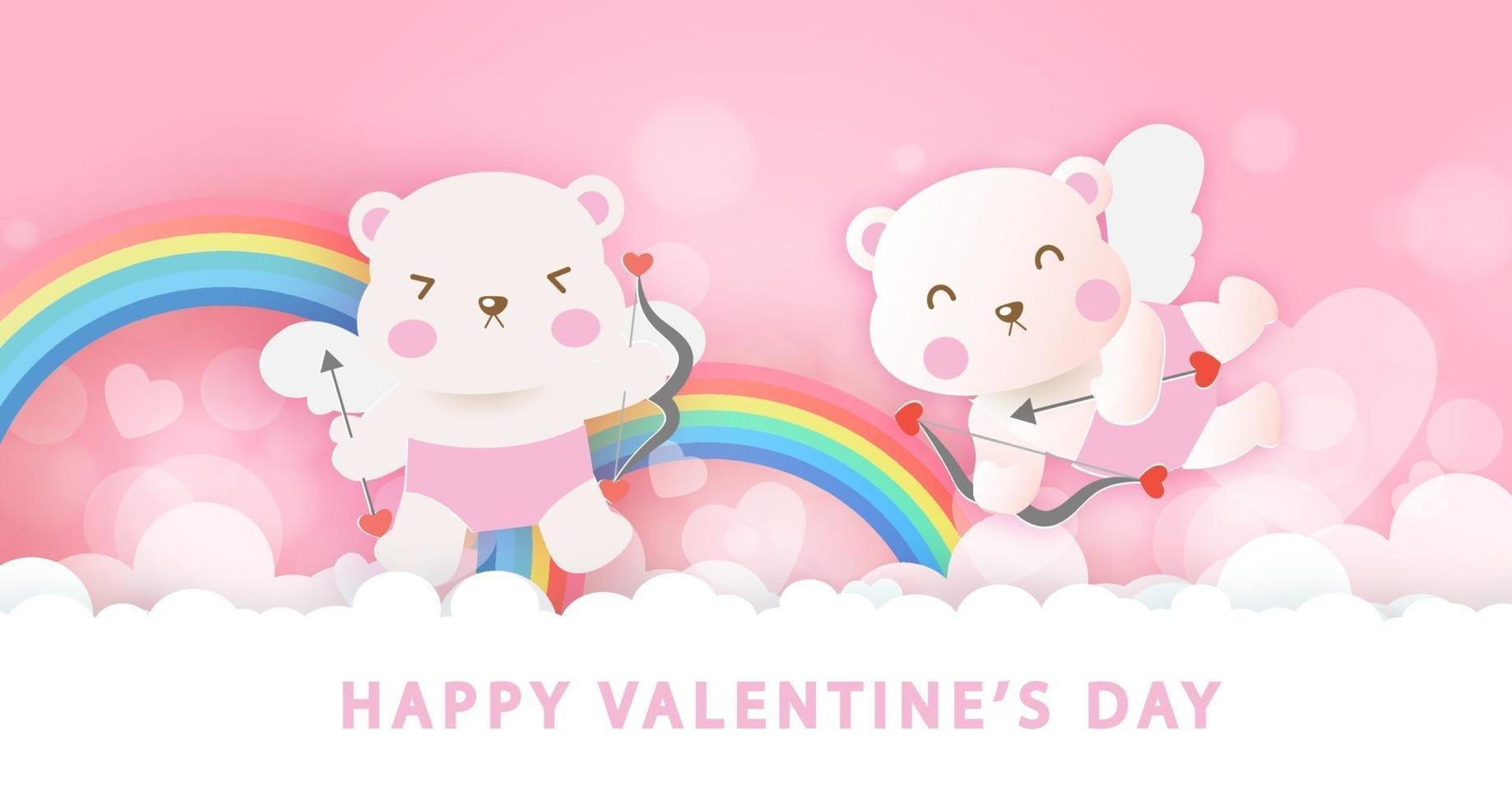 Valentijnsdag wenskaart met schattige cupido beren en regenbogen. vector