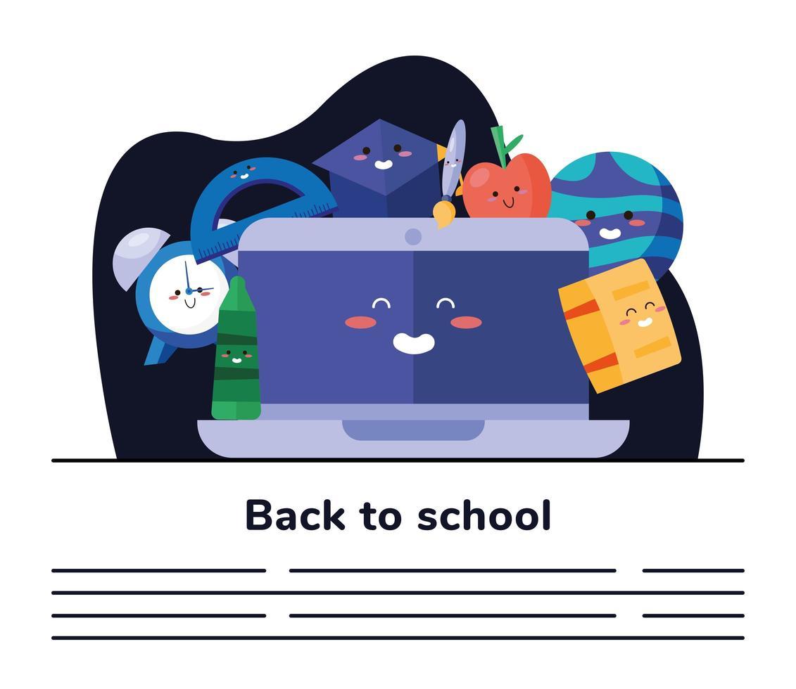 terug naar school belettering poster met laptop en benodigdheden sjabloon voor spandoek vector