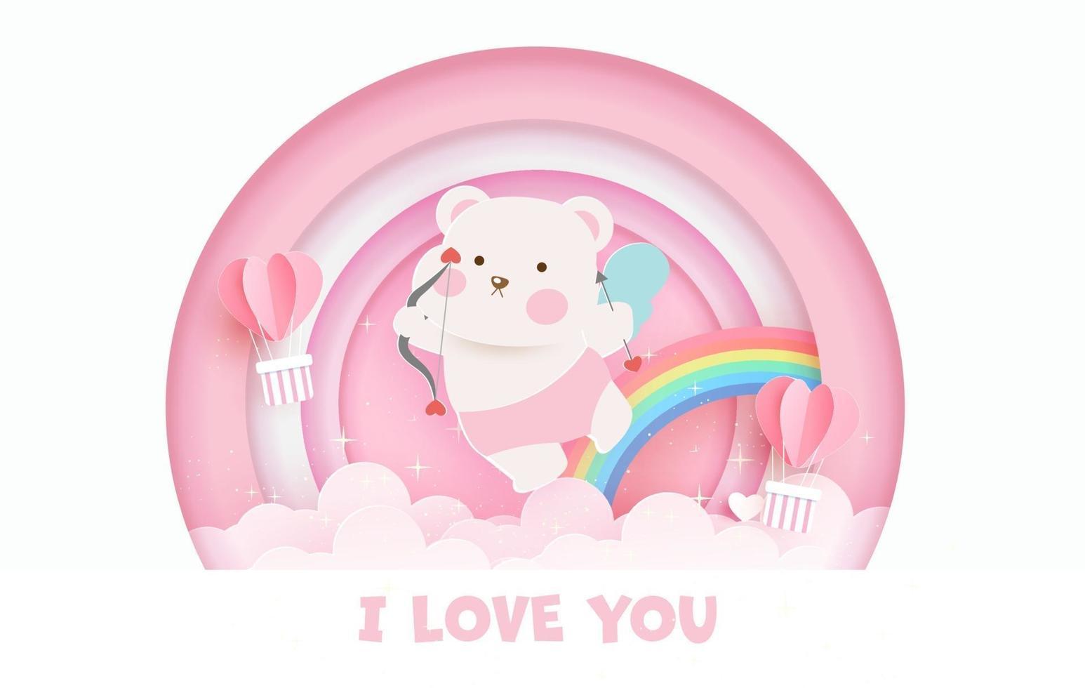 Valentijnsdag wenskaart met schattige cupido beer en regenboog. vector