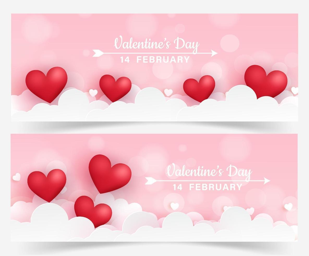set van Valentijnsdag banners met hartjes vector
