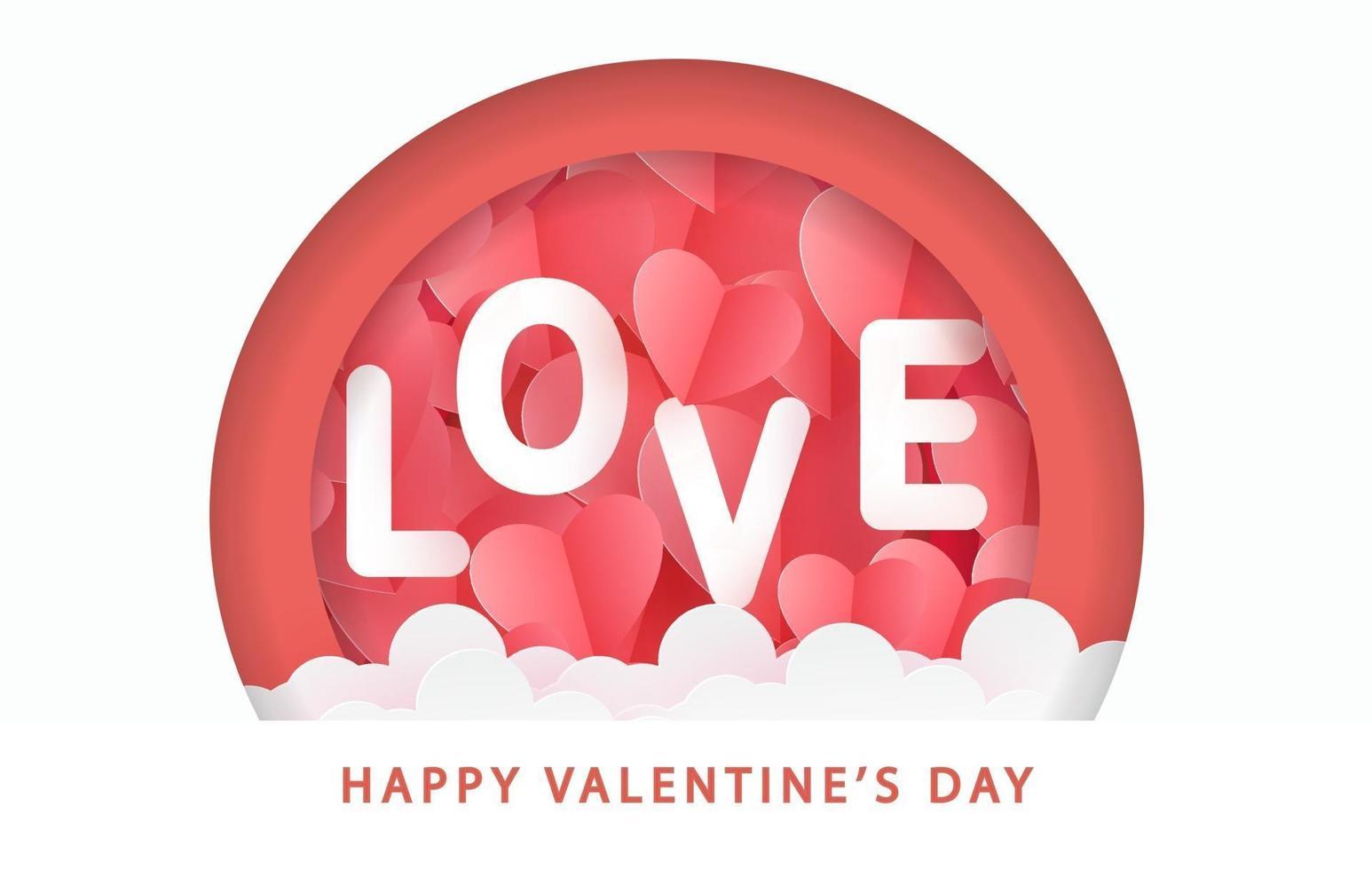Valentijnsdag wenskaart met papieren kunst harten en liefdetekst. vector
